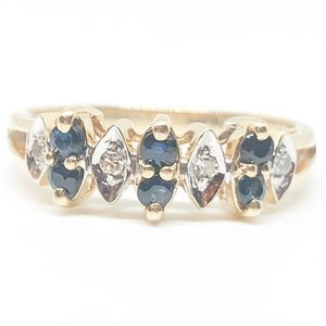 10k Gold Authentic Blue Sapphire & Diamond Ring